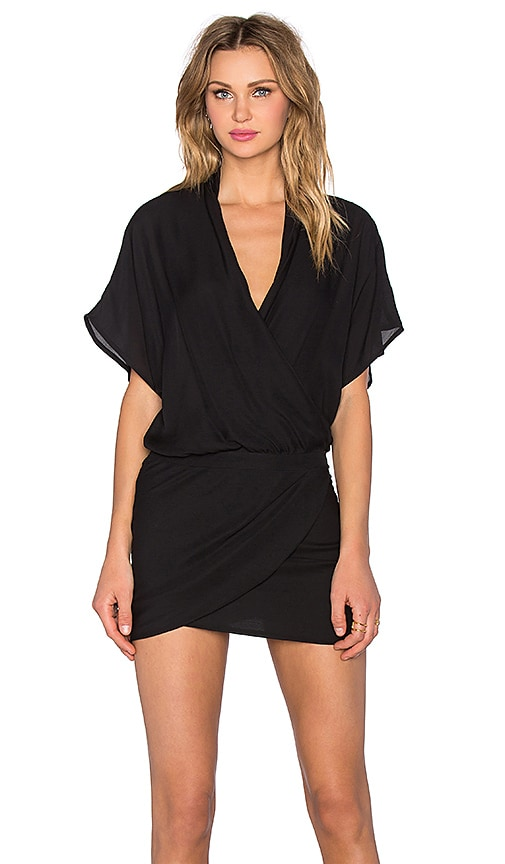 Michelle Mason Wrap Mini Dress in Black