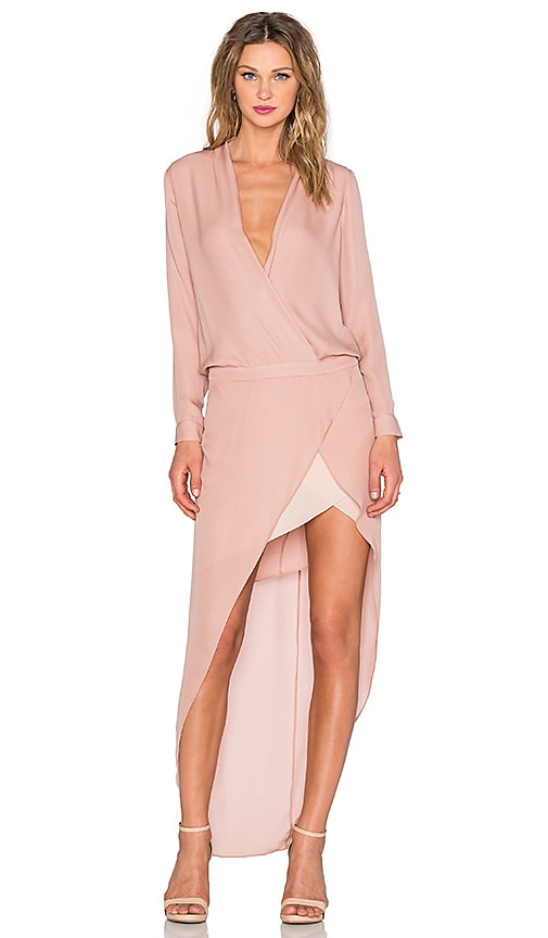Mason by Michelle Mason Long Sleeve Contrast Slip Gown in Blush