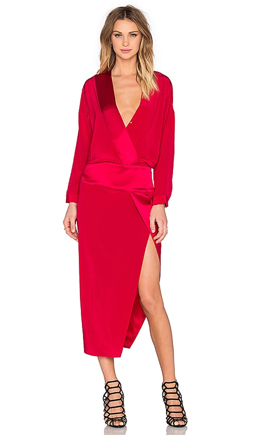 Mason by Michelle Mason Long Sleeve Wrap Dress in Red