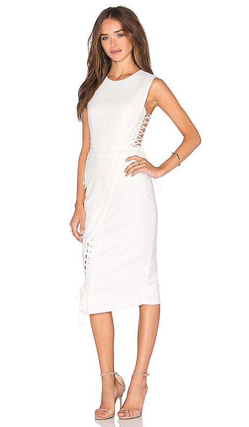 Michelle Mason Lace Midi Dress in Ivory
