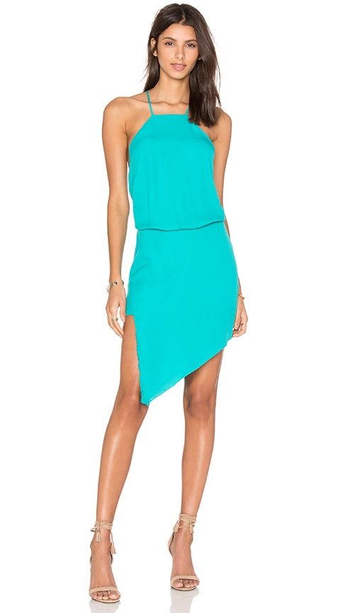 Mason by Michelle Mason Paneled Midi Dress in Turquoise