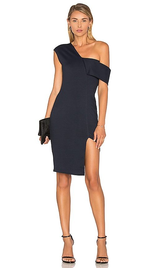 Michelle Mason Asymmetrical Strap Dress in Navy