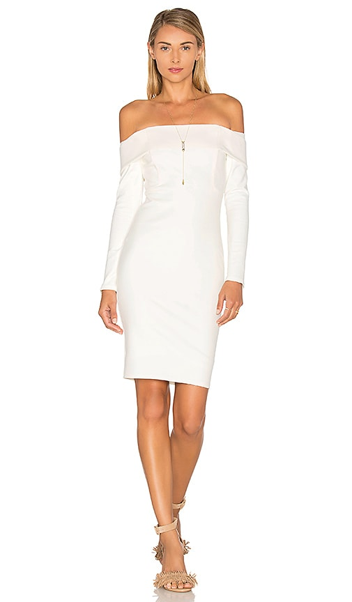 Michelle Mason Long Sleeve Off Shoulder Dress in Ivory
