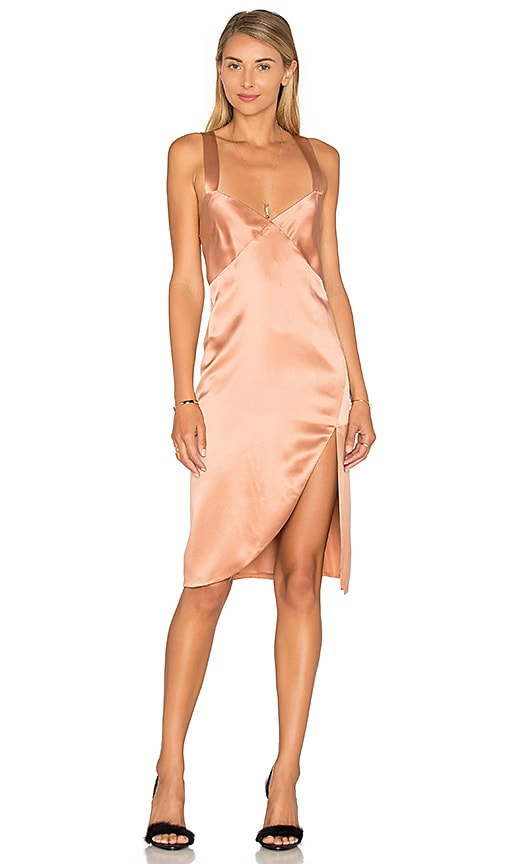 Michelle Mason Cross Back Slip Dress in Metallic Copper