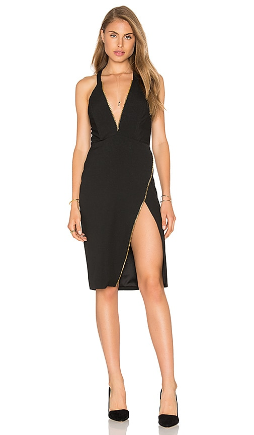 Michelle Mason Plunge Zipper Dress in Black