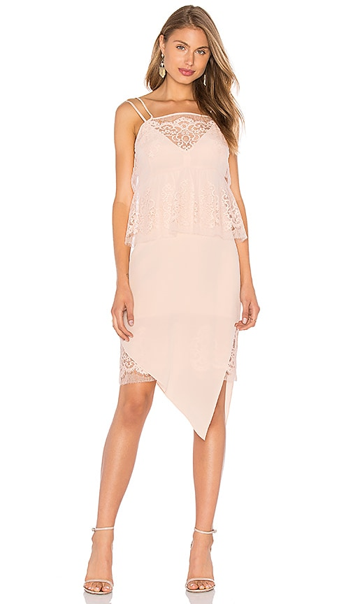 Michelle Mason Lace Tier Ruffle Dress in Blush