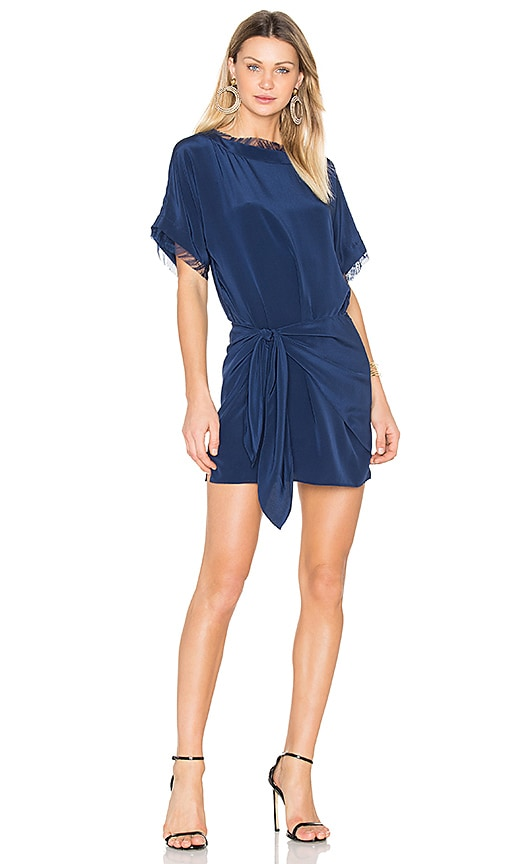 Michelle Mason Oversized Dress With Tie in Blue