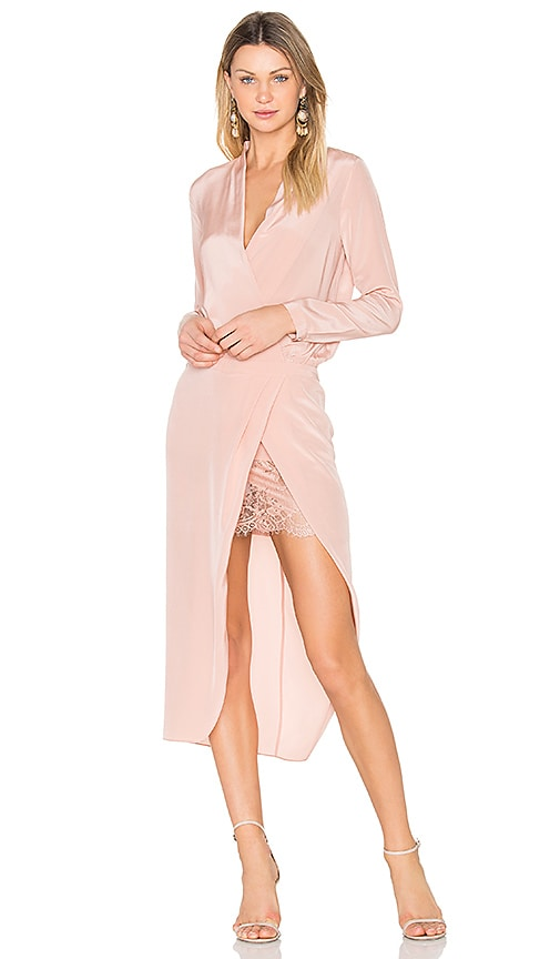 Michelle Mason x REVOLVE Long sleeve Wrap Dress in Blush