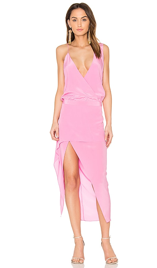 Michelle Mason Asymmetrical Midi Dress in Pink