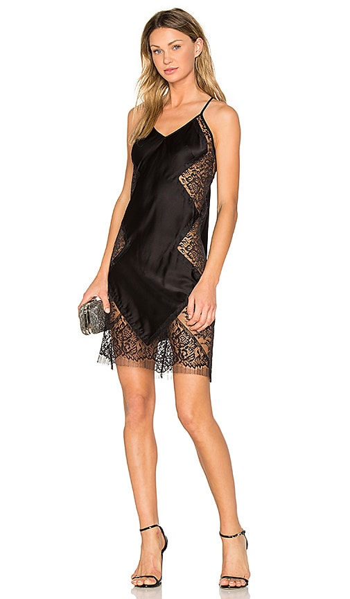 Michelle Mason Lace Slip Dress in Black