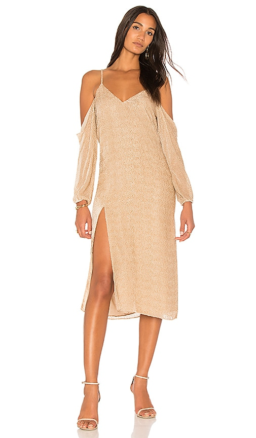 Michelle Mason Drop Shoulder Slip Dress in Beige