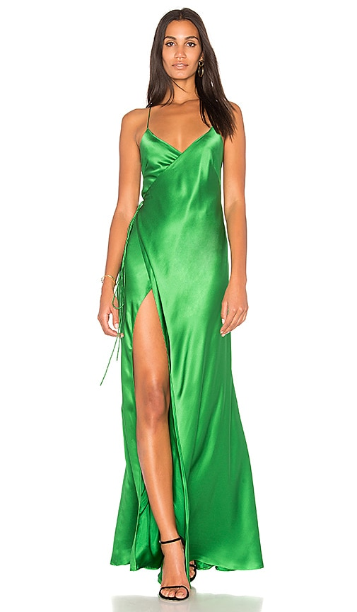 green wrap dress