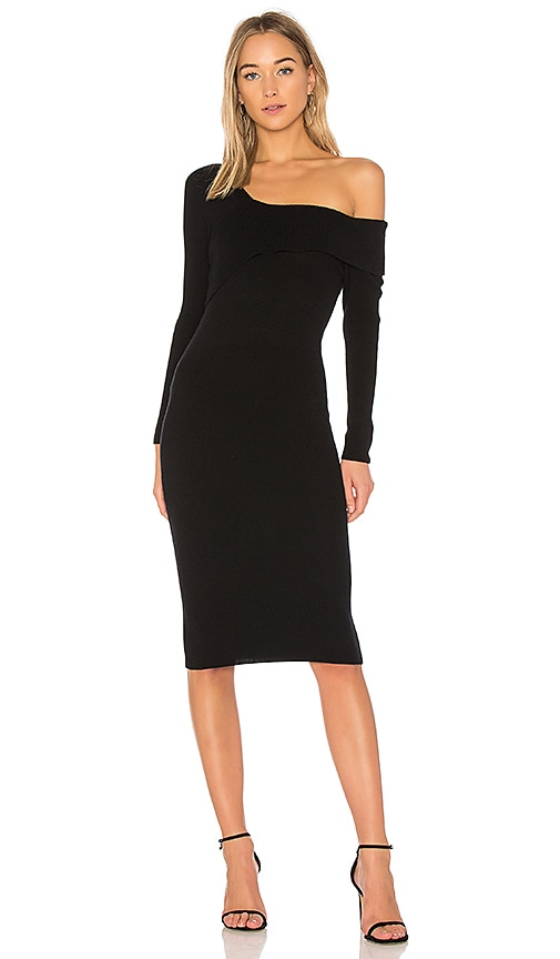 Michelle Mason Asymmetrical Band Sweater Dress in Black