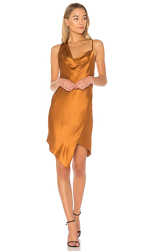 Michelle Mason Bias Cowl Mini Dress in Metallic Bronze