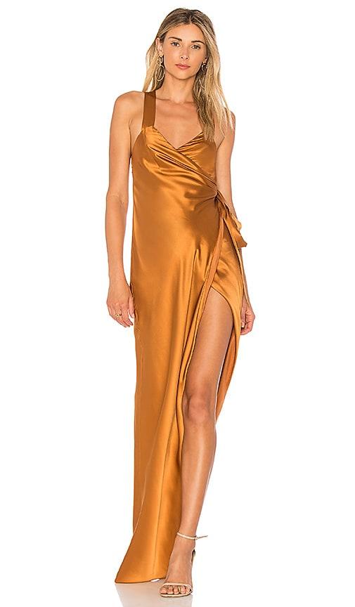 Michelle Mason Cross Back Wrap Dress in Metallic Copper
