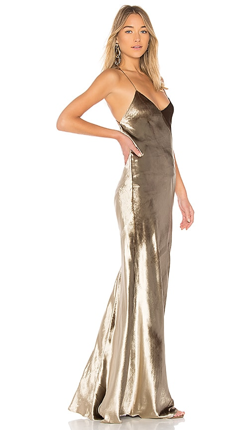 Michelle Mason Bias Maxi Dress in Metallic Gold