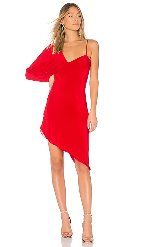Michelle Mason One Sleeve Asymmetric Dress in Red