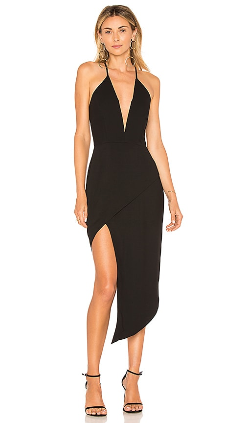 Michelle Mason Asymmetric Plunge Dress in Black