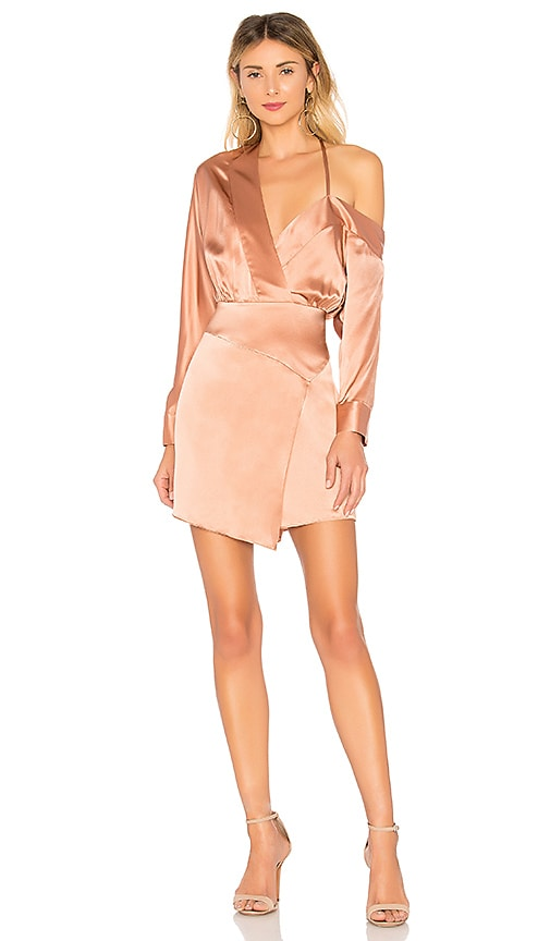 Michelle Mason Off Shoulder Mini Dress in Desert Rose | REVOLVE