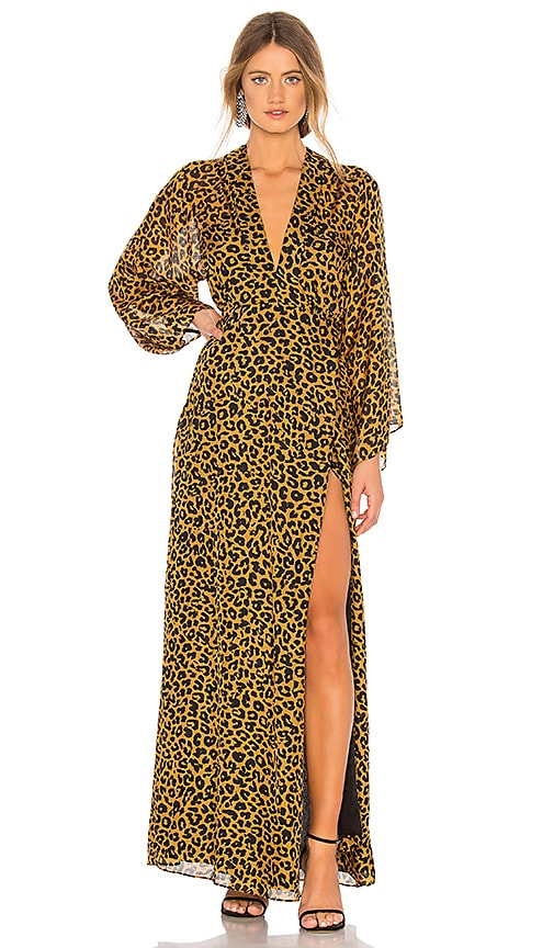 Long Sleeve Plunge Gown