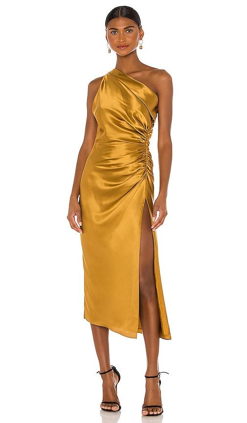 Michelle Mason Asymmetrical Gathered Dress View 1 of 4