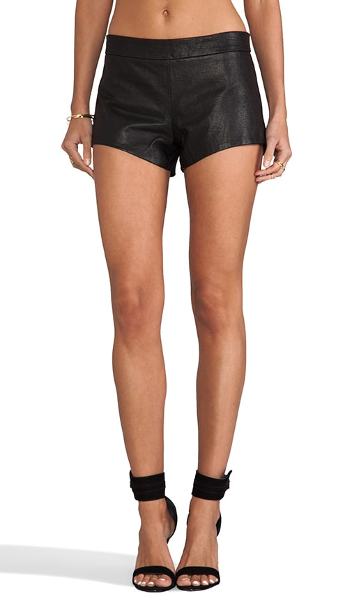 Leather Front Shorts