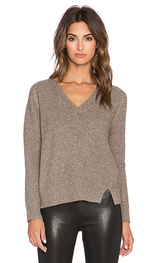 Mason by Michelle Mason V Neck Sweater in Taupe