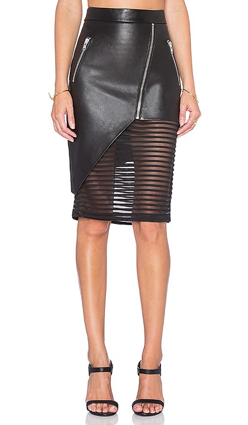 b4653888d4 Leather Skirt with Sheer Inset. Leather Skirt with Sheer Inset. Michelle  Mason