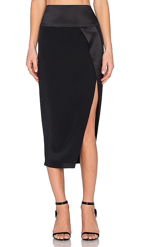 65b7183170 Michelle Mason Wrap Midi Skirt in Black | REVOLVE