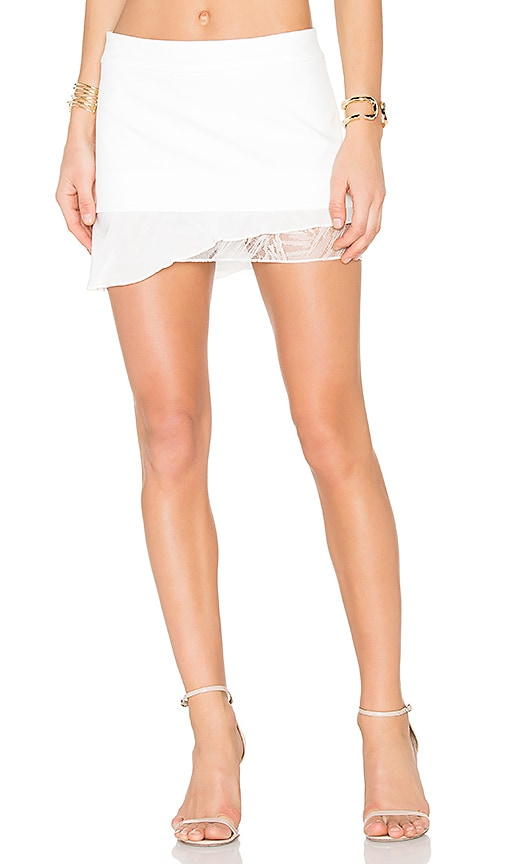 Michelle Mason Lace Flutter Skirt in White