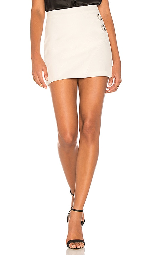 Michelle Mason Grommet Mini Skirt in White