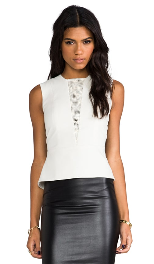 Lazer Leather Peplum Top