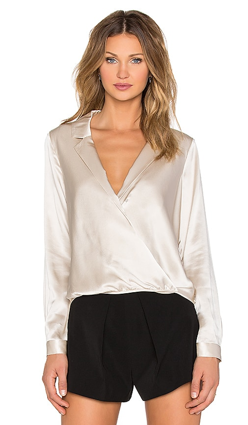 Mason by Michelle Mason Wrap Shirt in Oyster