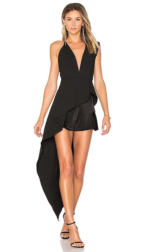 Michelle Mason Asymmetrical Plunge Top in Black