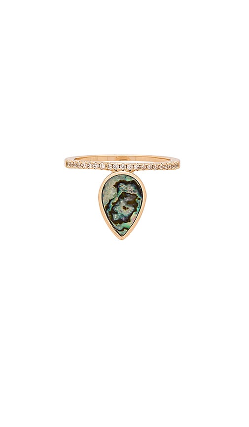 Melanie Auld Teardrop Stacking Ring in Abalone & Gold