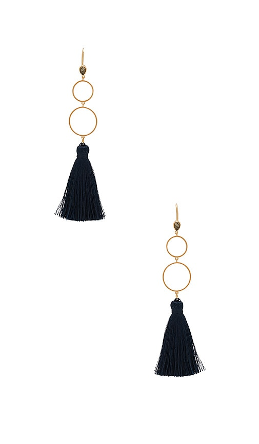 Melanie Auld Open Circle Tassel Earrings in Metallic Gold