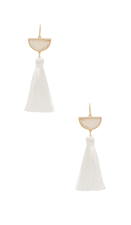 Melanie Auld Half Moon Tassel Earrings in Metallic Gold