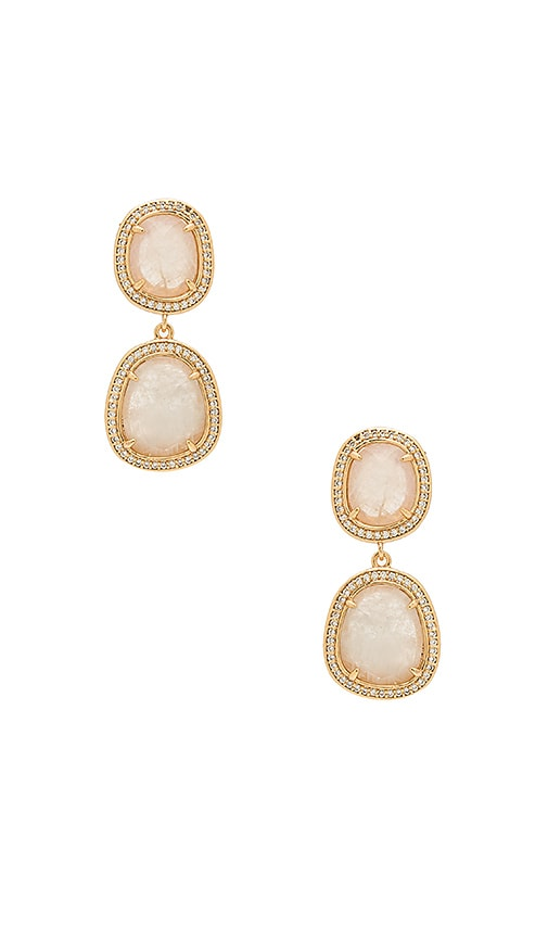Melanie Auld Double Drop Earrings in Metallic Gold