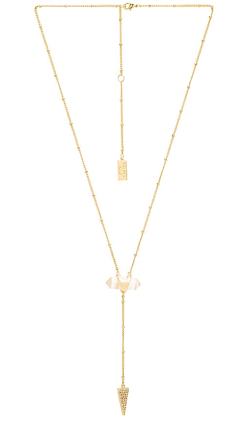 Melanie Auld Crystal Cut Lariat Necklace in Cream Cats Eye & Gold