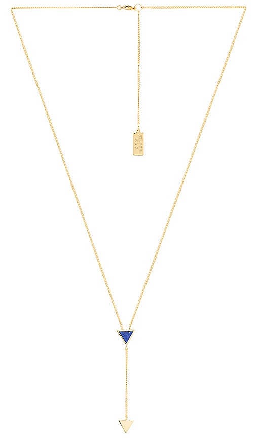 Melanie Auld Double Triangle Lariat Necklace in Lapis & Gold