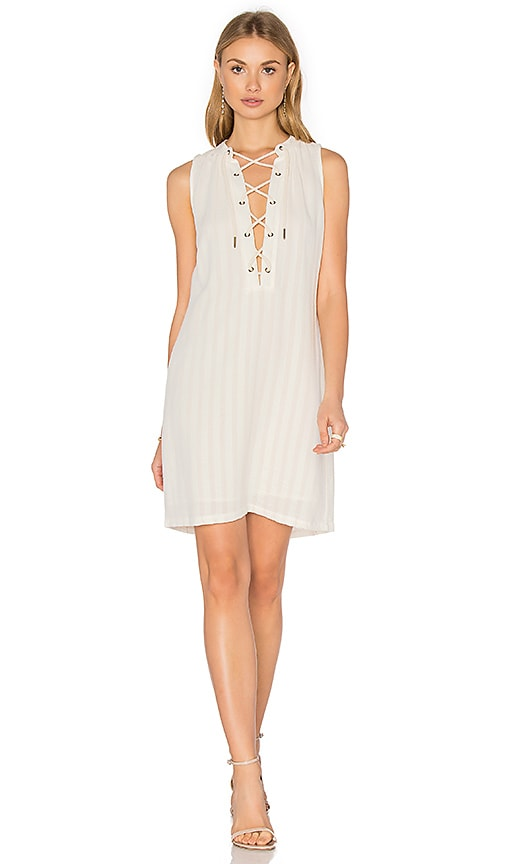maven west Lace Up Shift Dress in Ivory