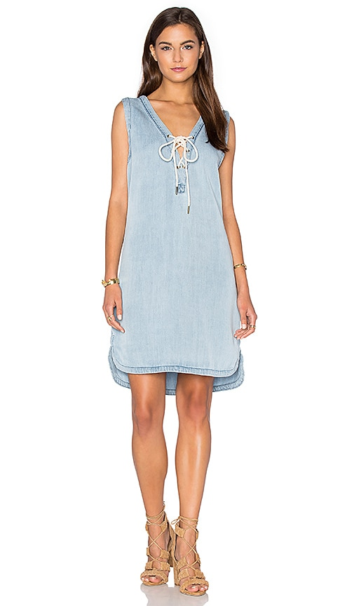 maven west Lace Up Shirt Dress in Light Indigo