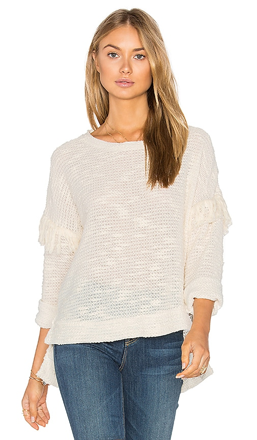 maven west Drop Shoulder Fringe Sweater in Beige