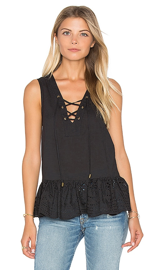 maven west Lace Up Peplum Top in Black