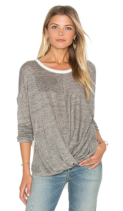maven west Surplice Drop Shoulder Top in Gray