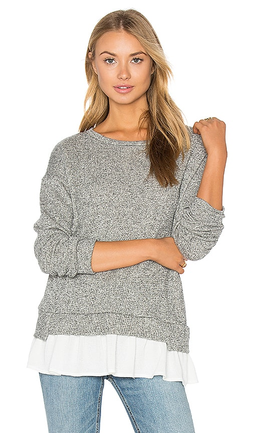 maven west Ruffle Hem Sweatshirt in Grey