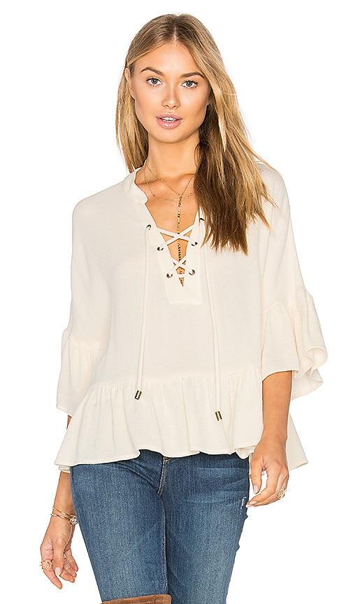 maven west Lace Up Ruffle Top in Beige