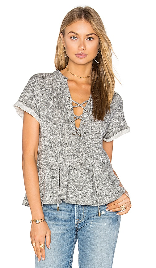 maven west Lace Up Peplum Sweatshirt in Grey