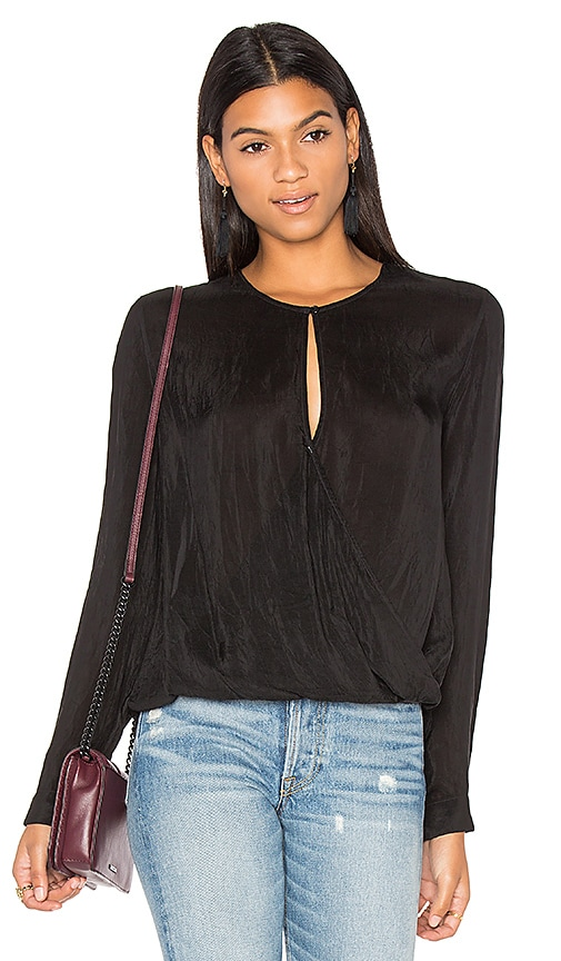 maven west Surplice Key Hole Front Top in Black