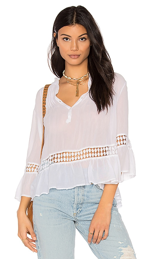 maven west Mila Peasant Blouse in White
